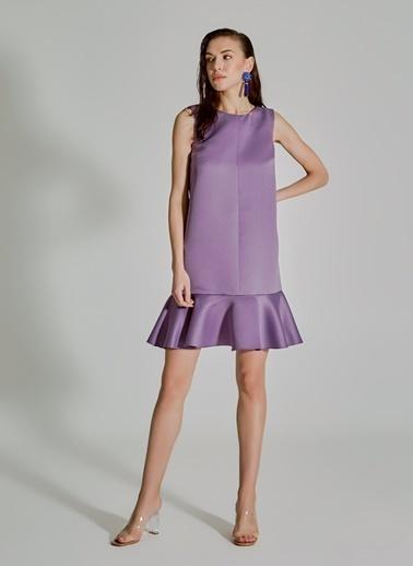 People By Fabrika Volanlı Saten Elbise Lila